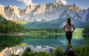 Picture ass, girl, landscape, mountains, jeans, Green Lemon
