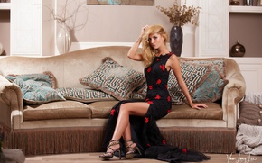 Picture girl, room, interior, pillow, makeup, figure, dress, hairstyle, blonde, shoes, legs, beautiful, on the couch, …