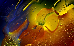 Wallpaper drops, oil, glass, abstraction, macro