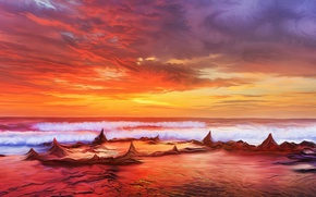 Picture sea, the sky, sunset, by exobiology