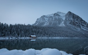 Wallpaper Lake Louise, Banff national Park, Albert, lake, Canada, Alberta, Canadian Rockies, snow, Canadian Rockies, forest, ...