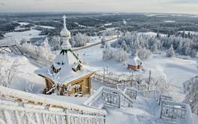 Wallpaper winter, view, ladder, panorama, temple