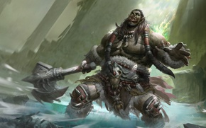 Picture green, axe, sake, World of Warcraft, game, Blizzard, fang, warrior, strong, muscular, orc, Azeroth