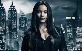 Wallpaper the series, Jessica Lucas, poster, The Tabitha Galava, Jessica Lucas, jacket, in black, the city, ...