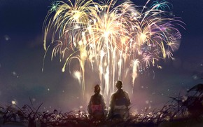 Picture the sky, girl, night, nature, fireworks, guy, sishenfan