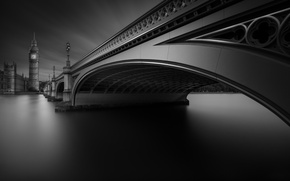 Picture bridge, London, Thames, Westminster, Westminster, b & W photo