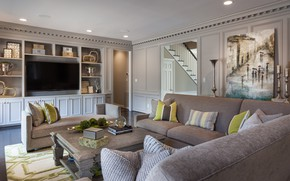 Picture Living Room, Dark Interior, Private Residence, Houston Texas, American Style