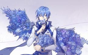 Picture anime, art, guy, Vocaloid, Vocaloid, blue roses
