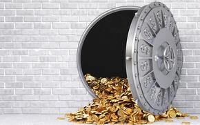 Wallpaper wall, gold, brick, the door, dollar, coins, the Bank, store