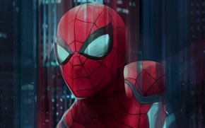 Picture red, art, superhero, Spider-man, Peter Parker, figure, Spider-Man, costume