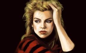 Picture figure, portrait, DJ, art, black background, British, Kim Wilde, Kim Wilde, pop singer