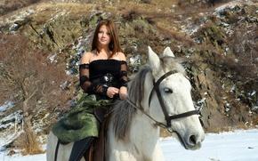 Picture Model, Smile, Snow, Horse, Kleofia, Riding