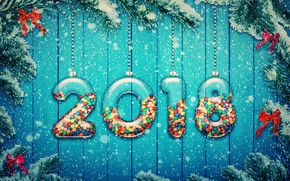 Wallpaper Happy, New Year, snow, snow, decoration, 2018, New Year, tree, decoration, candy