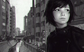 Picture girl, the city, river, street, Japan, anime, art, channel, Asian