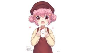 Picture girl, animal, pink hair, Comic Girls