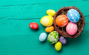 Picture spring, colorful, Easter, socket, basket, wood, spring, Easter, eggs, decoration, Happy, nest, the painted eggs