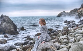 Picture sea, girl, pose, dress, Dmitry Levykin, Maria Martyanova