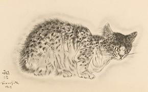 Picture cat, sitting, 1929, Tsuguharu, Fujita, beautiful color, pricked