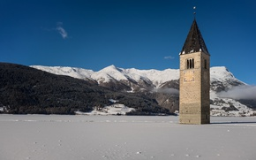 Picture mountains, lake, ice, Italy, Church