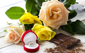 Picture chocolate, roses, ring, sweet, chocolate, ring, roses