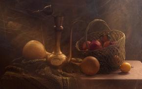 Picture lemon, basket, pumpkin, still life, grenades, tangerines