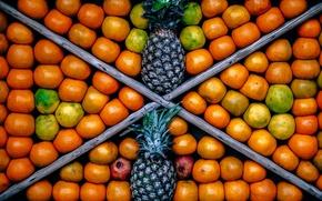 Picture fruit, pineapple, box, grenades, showcase, tangerines, pineapples