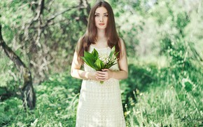 Picture girl, photo, spring, beautiful, lilies of the valley