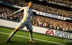 Picture logo, Cristiano Ronaldo, game, Adidas, stadium, soccer, Real Madrid, Electronic Arts, FIFA, uniform, Futbol Club …