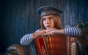 Wallpaper sadness, mood, girl, Sailor, vest, Bayan, the cap, Sergey Rehob