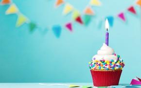 Wallpaper candle, colorful, cream, Happy Birthday, cupcake, decoration, Birthday, cupcake, holiday celebration