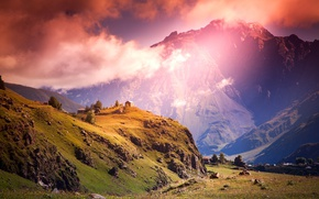 Picture clouds, landscape, mountains, home
