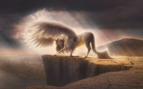 Wallpaper landscape, mountains, fog, river, open, fantasy, unicorn, Pegasus
