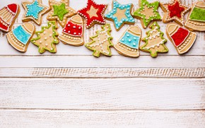Picture New Year, cookies, Christmas, wood, Merry Christmas, Xmas, glaze, cookies, decoration, gingerbread, gingerbread