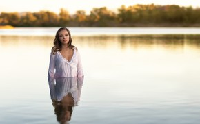 Picture neckline, shirt, sponge, the beauty, Laetitia, in the water