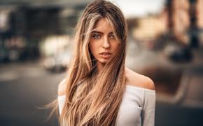 Picture girl, portrait, makeup, hairstyle, brown hair, blouse, beautiful, bokeh, Sophie, Martin Kühn, Martin Kuhn
