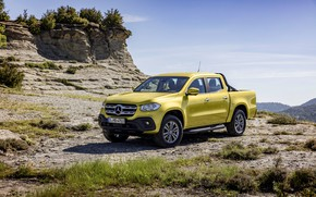 Picture the sky, clouds, landscape, yellow, vegetation, Mercedes-Benz, pickup, 2017, X-Class, the highlands