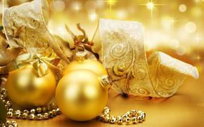 Picture gold, gift, new year, ball, tape