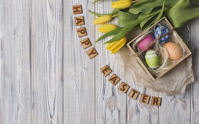 Picture flowers, letters, holiday, eggs, Easter, tulips