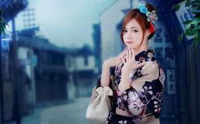Picture girl, geisha, kimono, Asian, bokeh
