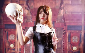 Picture face, background, skull, costume, girl Oriental