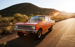 Picture Ford, road, muscle car, orange, Falcon, drag race