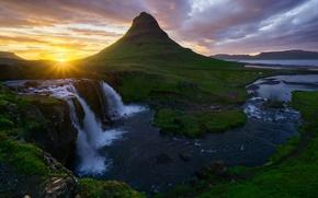 Picture the sun, waterfalls, Iceland, Kirkjufellsfoss, mountain Kirkjufell