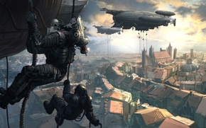 Wallpaper the city, landing, Perdido Street Station, Thomas Chamberlain - Keen, airships