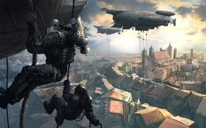 Picture the city, airships, landing, Thomas Chamberlain - Keen, Perdido Street Station