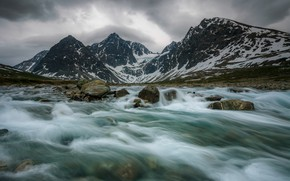 Picture Nature, Winter, Mountains, River, Snow