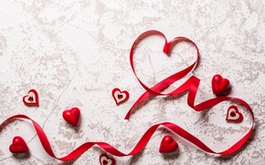 Wallpaper romantic, hearts, love, valentine`s day, tape, red