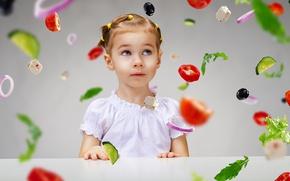 Wallpaper little girl, tomato, surprise, child, vegetables, girl, pepper, vegetables