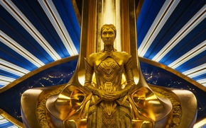 Picture cinema, golden, woman, yellow, alien, blue, movie, film, throne, Guardians of the Galaxy, Guardians of ...