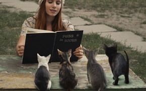Picture girl, kittens, book, Puss in boots, David Dubnitskiy