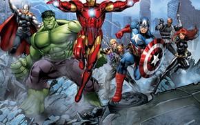 Picture the wreckage, the city, zipper, Falcon, the ruins, shield, Hulk, Hulk, Iron Man, comic, Falcon, …